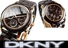DKNY LADIE'S SEXY CERAMIC BROWN CHRONOGRAPH HOT WATCH NY8430