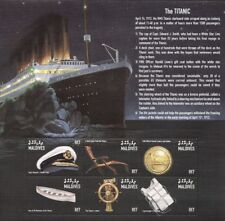 RMS TITANIC Artefacts White Star Line Ocean Liner Ship Stamp Sheet/1998 Maldives