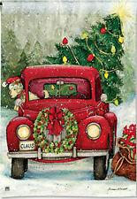Garden Flag, Christmas, Bringing Home the Tree, Americana, Red Truck