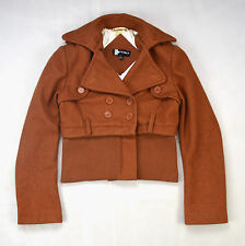 Thick Speckled Copper Wool Felt Military Industrial Crop Jacket Coat Top Small