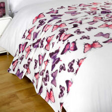 Purple Butterfly Animal Print Fleece Throw Over Bed Travel Blanket 120 X 150cm