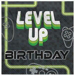 Level Up Gamer Lunch Napkins - 16 Pack