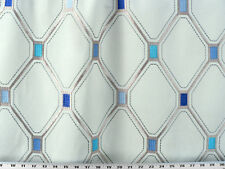 Drapery Upholstery Fabric Stitched Marquis Diamond Embroidered Boarder - Silver