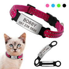 Reflective Quick Release Cat Collar With Personalized Slide On Pet Name Id Tags