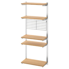 New  KUNGSFORS Suspension rail with shelf/wll grid, stainless steel, bamboo IKEA