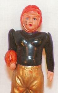 Vintage Celluloid Football Player Black & Gold Occupied Japan 1940s-50s #1