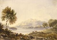 View across Derwent Water, Lake District – Mid-19th-century watercolour painting