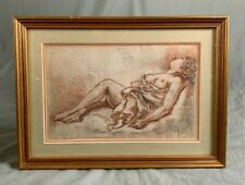 Early 20th Century Chalk and Charcoal Drawing Study of a Semi Nude Female R.E.G