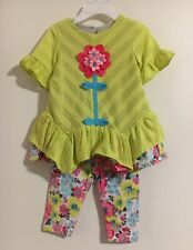 Rare Editions Baby Girls' Flower Aplique Top with Flower Leggings Outfit Sz 6M
