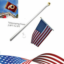 USA 3x5 Flag Pole Gold Ball Kit US 5 ft Sectional Aluminum flagpole US American