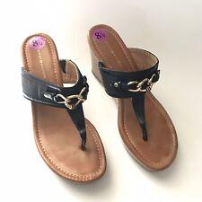 tommy hilfiger Womens Sandal Size 8.5M Melane Thong Wedges High Slip On Black