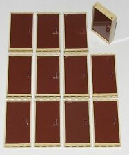 LEGO LOT OF 12 NEW TAN FRAMES AND BROWN DOORS TOWN CITY HOUSE HOME PARTS