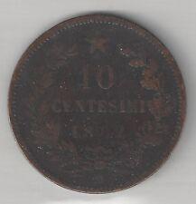 ITALY,  1862-M,  10 CENTESIMI,  COPPER,  KM#11.1