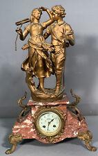 Lg Antique Art Nouveau Era Marti Old French Figural Lady Man Marble Statue Clock