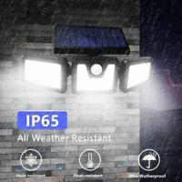 74 LED Outdoor Solar Motion Sensor Flood Light Garden 3 Head Security Wall Lamp