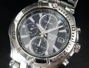 Working Seiko Alba Roox Chronograph Quartz Mens Blue Watch 7T92 uhr montre reloj