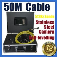 50M Cable Sewer Drain Pipe Wall Self-levelling Camera w 512HZ Locator Sonde