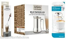 Kitchen Craft Stainless Steel Milk Frother Latte Whisk, Jug & Thermometer