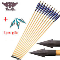 "Hunting Wooden Arrows Bolts 32"" 5 Inch Real Turkey Feathers Fit Compound Bow"