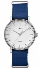 TW2P98200 Timex Fairfield Unisex White Dial Blue Nylon slip-thru Band 37mm Watch