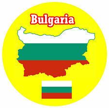 BULGARIA - MAP / FLAG - ROUND SOUVENIR FRIDGE MAGNET - BRAND NEW - GIFT