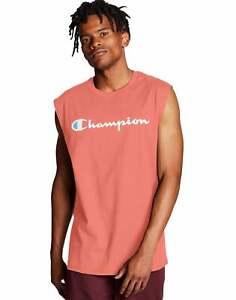 Sleeveless T-Shirt Champion Men's Tee Classic Jersey Muscle Script Logo Ringspun