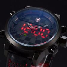 SHARK Men's 50mm LED Digital / Quartz Analog Red Black Leather Dual Time Watch