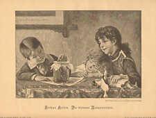 Children, Pet Frog, Doll, Sisters, Vintage 1897 German Antique Print