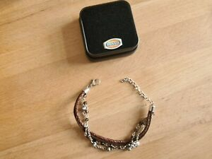 silbernes Fossil Mode-Armband mit Leder