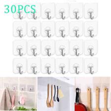 30PC Traceless Seamless Wall Rack Hooks Transparent Plastic Hanger Self Adhesiv