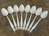 Holmes Edwards Danish Princess 8 Teaspoons Vintage Silverplate Flatware Lot R