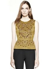 TORY BURCH ROYAL GOLD METALLIC EMBROIDERED BEADED OPULENT BIRDIE TOP 8 $995