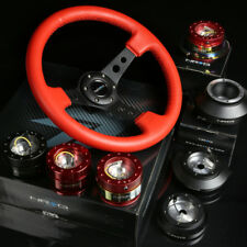 """NRG 130H HUB+CARBON  GEN1.5 QUICK RELEASE+3""""DEEP DISH RED LEATHER STEERING WHEEL"""