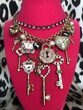 Betsey Johnson Love Birds Valentine Lock Key Pearl Heart Pink Crystal Necklace