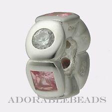 Authentic Chamilia Silver Circle & Square Pink CZ Bead JB-11B  *RETIRED