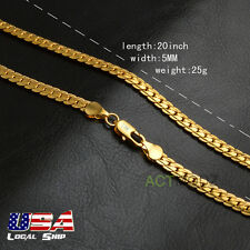 Cool Punk 20Inch 18k Gold Plated Miami Cuban Curb Link Chain Necklace Choker New