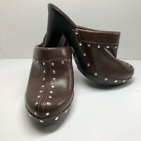 Fioni Heels Women's Size 6W Brown Clog Style Brass Studded Faux Leather
