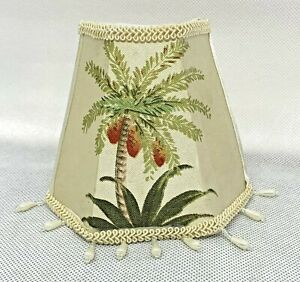 Small 1/2 Lamp Shade Clip On Chandelier Tropical Tommy Bahama Style - Palm Trees