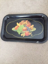 "Black Handpainted Floral Toleware like  Metal Tray, measures approx 16""Lx8.5""w"