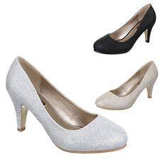 Damen Glitzer Pumps High Heels Stilettos Abend Hochzeit Übergrößen Schuhe
