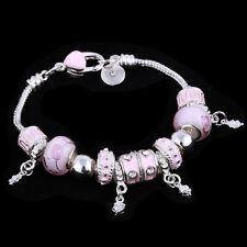 Charm Bracelet Pink Women Girls Silver Crystal Jewellery Love Gift Murano