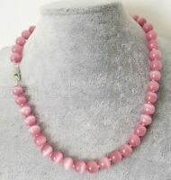 Fashion Women's 10mm Natural Pink Opal Gemstone Round Beads Necklace 18'' AAA