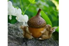Miniature Dollhouse FAIRY GARDEN - Squirrels Carrying Acorn - Accessories