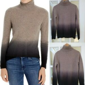 C By Bloomingdale's 100% Cashmere Ombre Dip Dye Turtleneck Sweater Size S NWT
