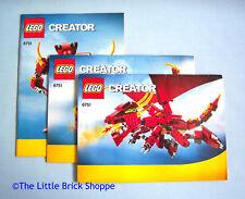 LEGO Creator 6751 Fiery Legend-Instruction Book 1, 2 & 3 Only-No LEGO Bricks