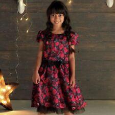 Cherokee Girls Black/Red Rose Satin Party Dress - BNWT