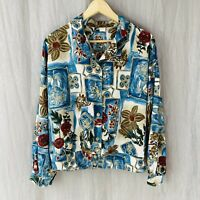 *VINTAGE* Blue Multi Floral Retro Abstract Art SIZE 16 UK Long Sleeve Blouse V1