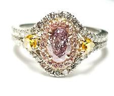 1.52ct Natural Argyle Fancy Pink & Vivid Yellow Diamonds GIA Platinum Ring