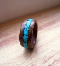 Walnut Bentwood Wooden Ring With Turquoise Inlay Handmade