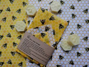 Natural Reusable Beeswax Food Wrap-Choose your set (Bees in Honeycomb)